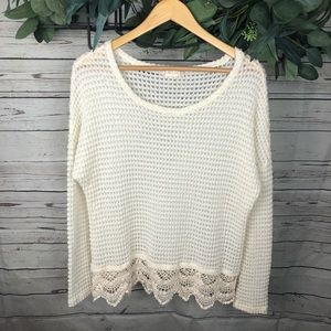 Altar'd State Long Sleeve Sweater with Lace Accent